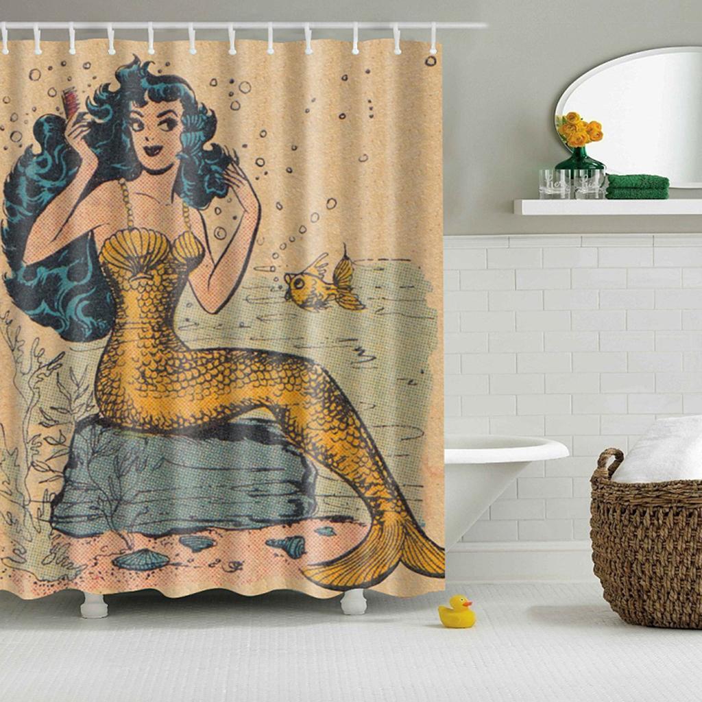 Rideaux-de-douche-Salle-de-bain-Decor-etanche-en-tissu-polyester-rideaux miniature 91