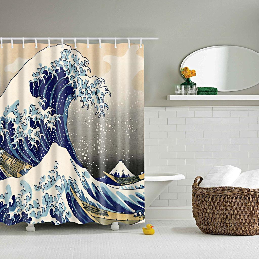Rideaux-de-douche-Salle-de-bain-Decor-etanche-en-tissu-polyester-rideaux miniature 4