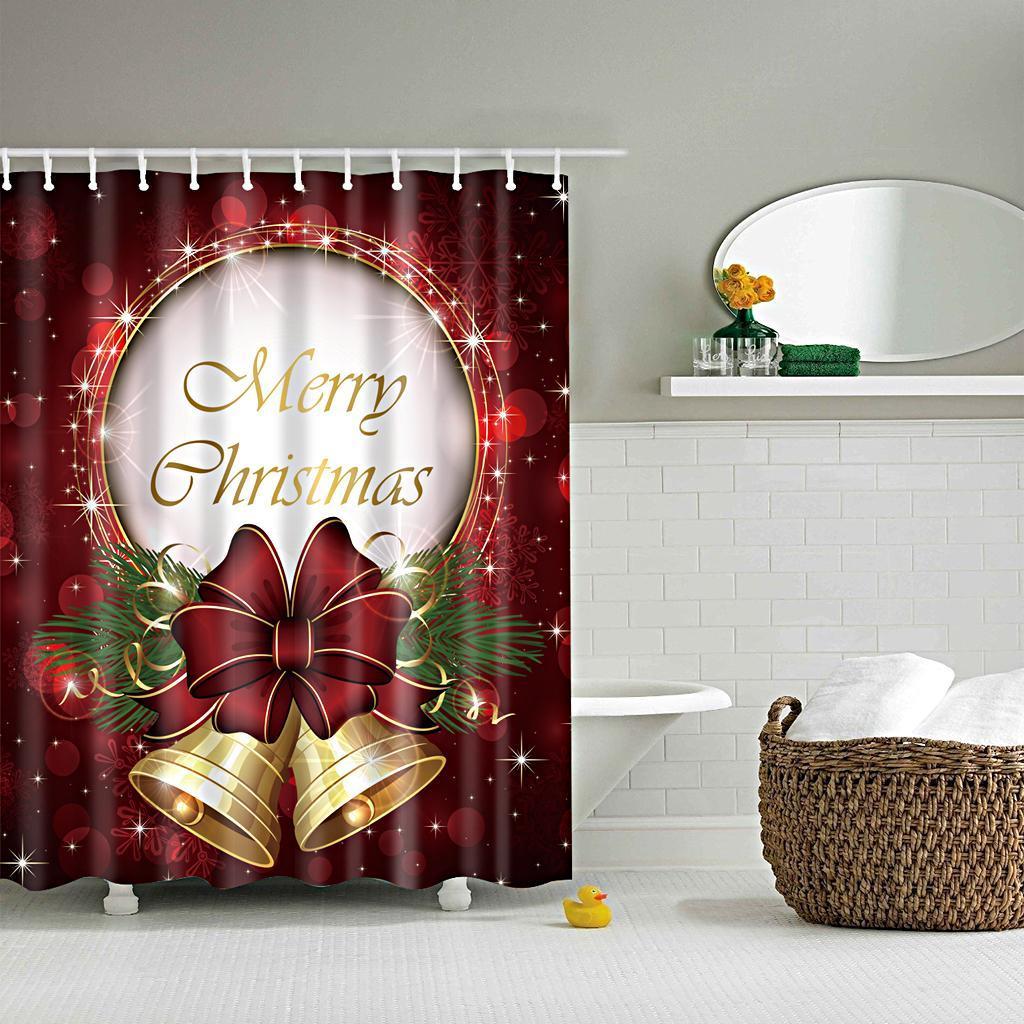 Rideaux-de-douche-Salle-de-bain-Decor-etanche-en-tissu-polyester-rideaux miniature 12