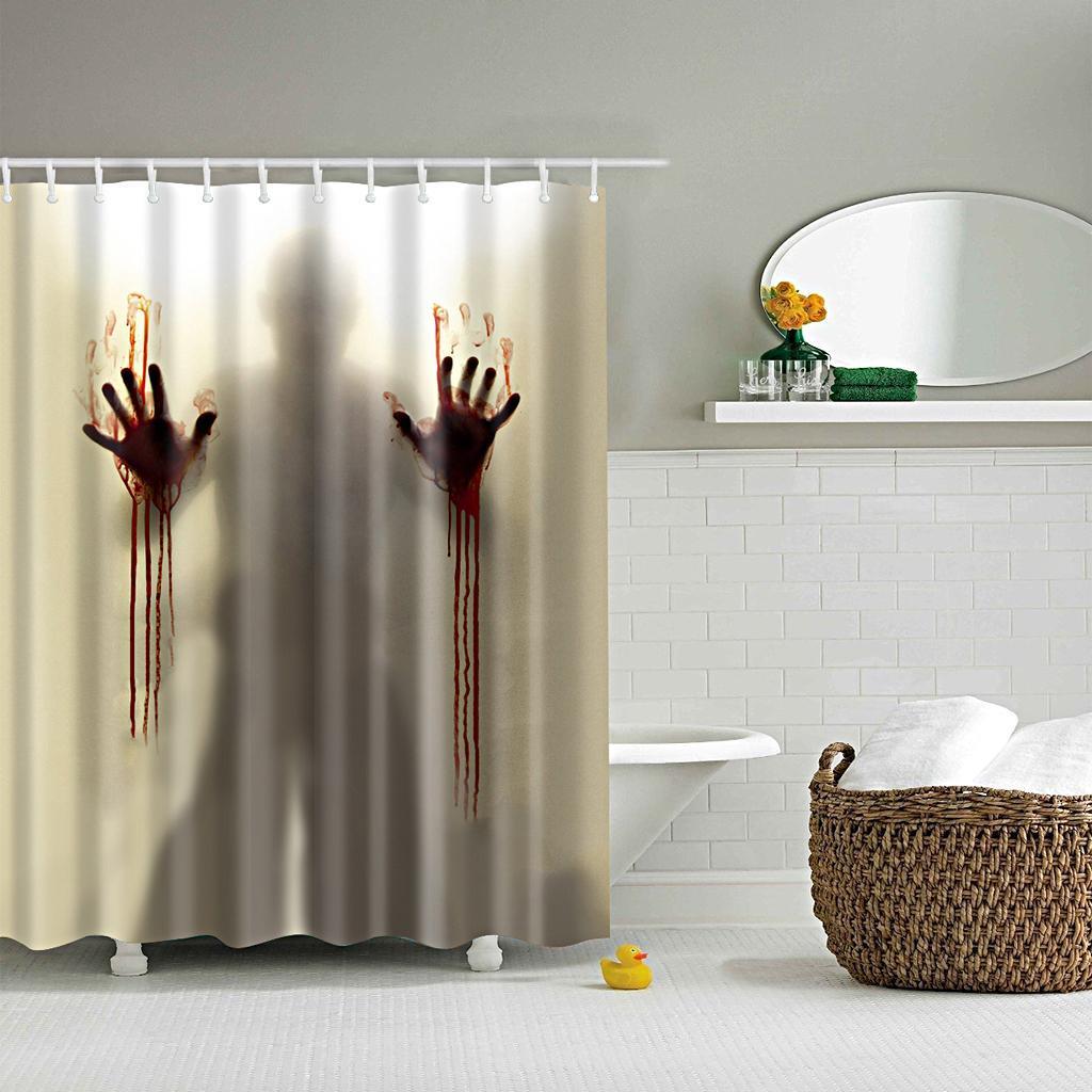 Rideaux-de-douche-Salle-de-bain-Decor-etanche-en-tissu-polyester-rideaux miniature 15