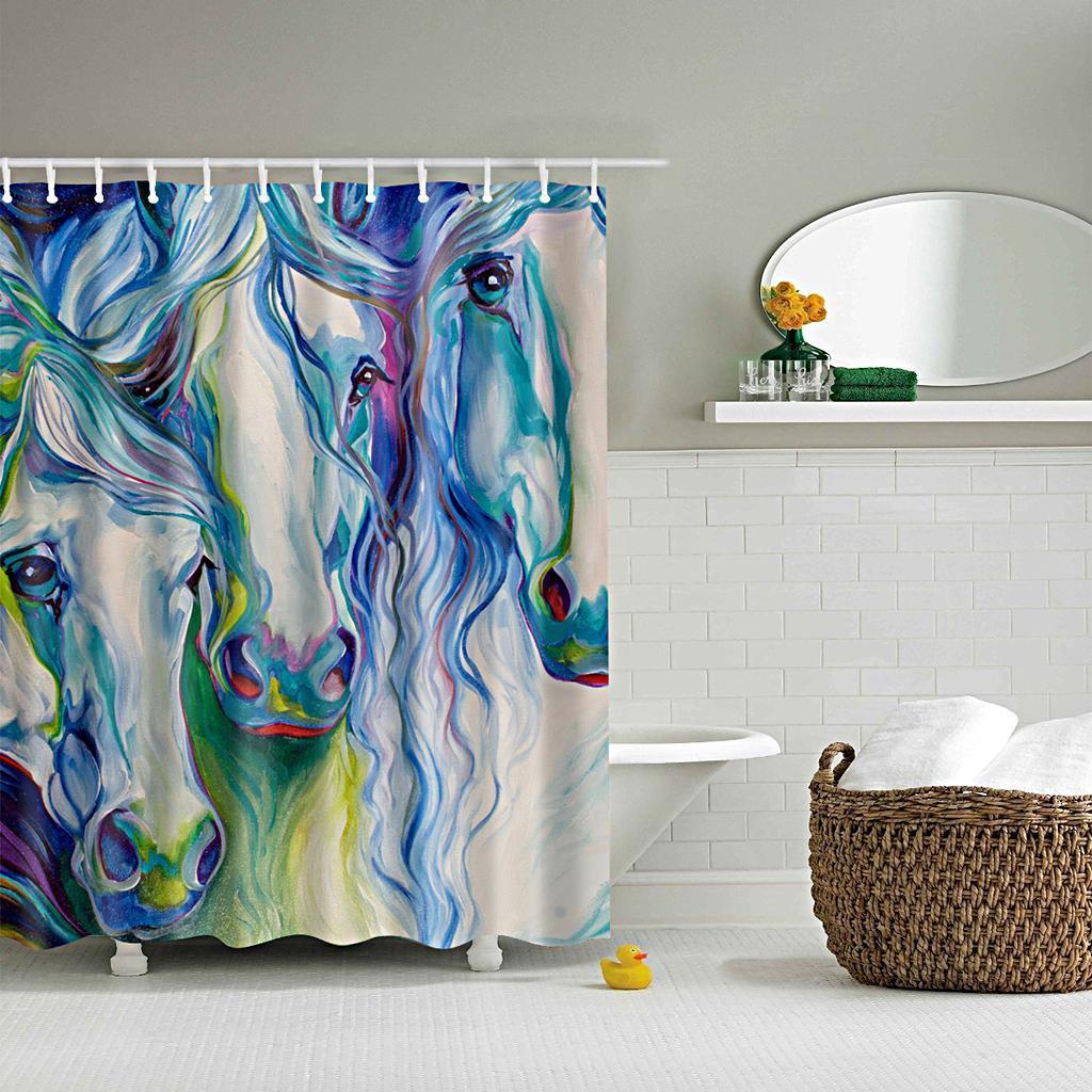 Rideaux-de-douche-Salle-de-bain-Decor-etanche-en-tissu-polyester-rideaux miniature 18