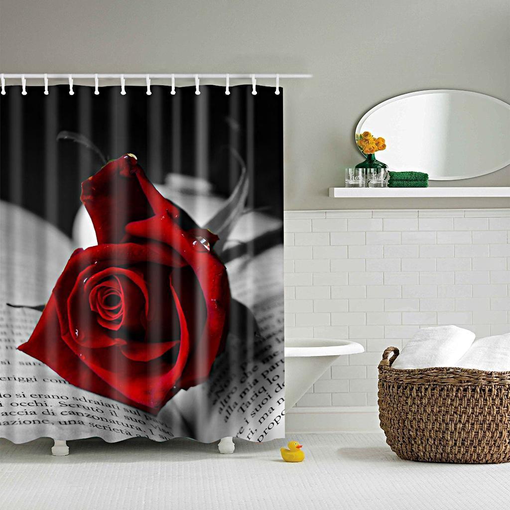 Rideaux-de-douche-Salle-de-bain-Decor-etanche-en-tissu-polyester-rideaux miniature 23