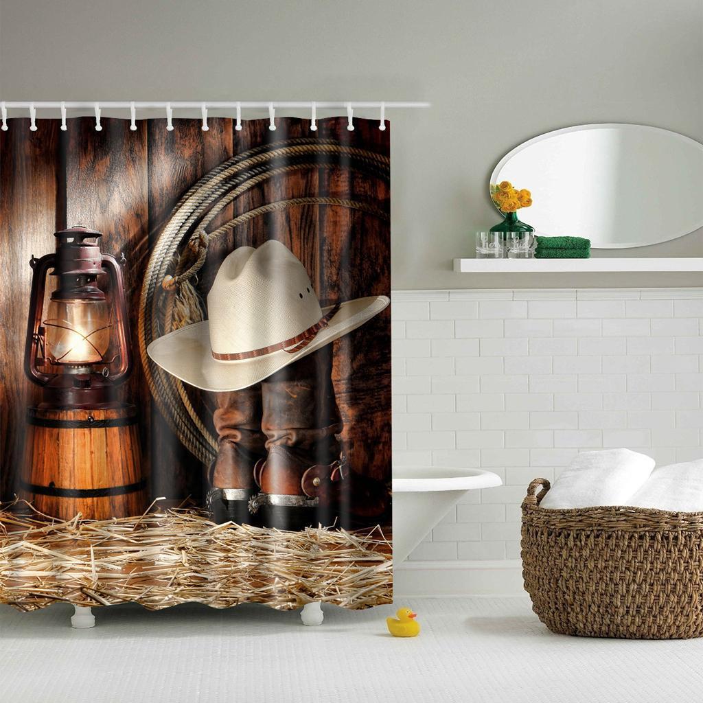 Rideaux-de-douche-Salle-de-bain-Decor-etanche-en-tissu-polyester-rideaux miniature 32