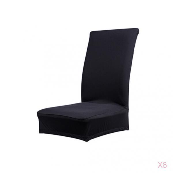 8Pcs-Selle-de-salle-a-manger-couleur-solide-Housse-Protecteur-etirable miniature 7