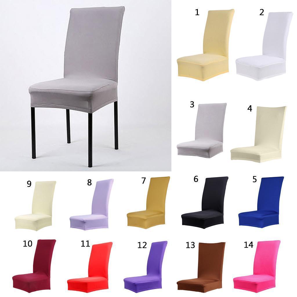 8Pcs-Selle-de-salle-a-manger-couleur-solide-Housse-Protecteur-etirable miniature 6