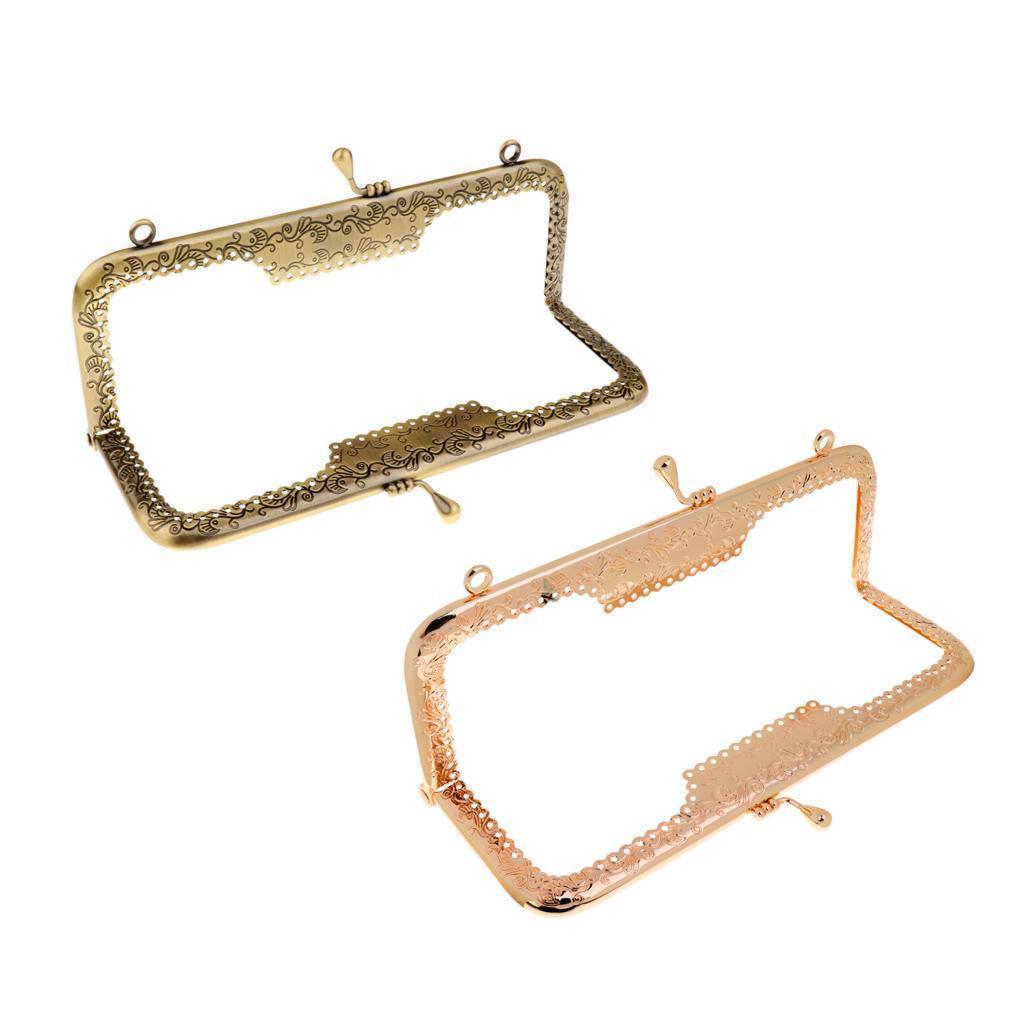1PC Metal Purse Bag Frame Kiss Clasp Square Bronze Gold 20cm x 8cm ...
