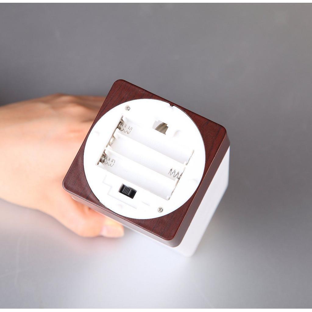 miniature 5 - Capteur De Mouvement PIR Lumière LED Lampe Nuit Base en Bois Blanc Chaud
