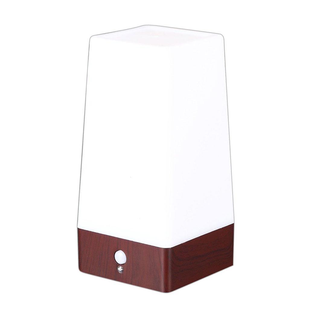 miniature 6 - Capteur De Mouvement PIR Lumière LED Lampe Nuit Base en Bois Blanc Chaud