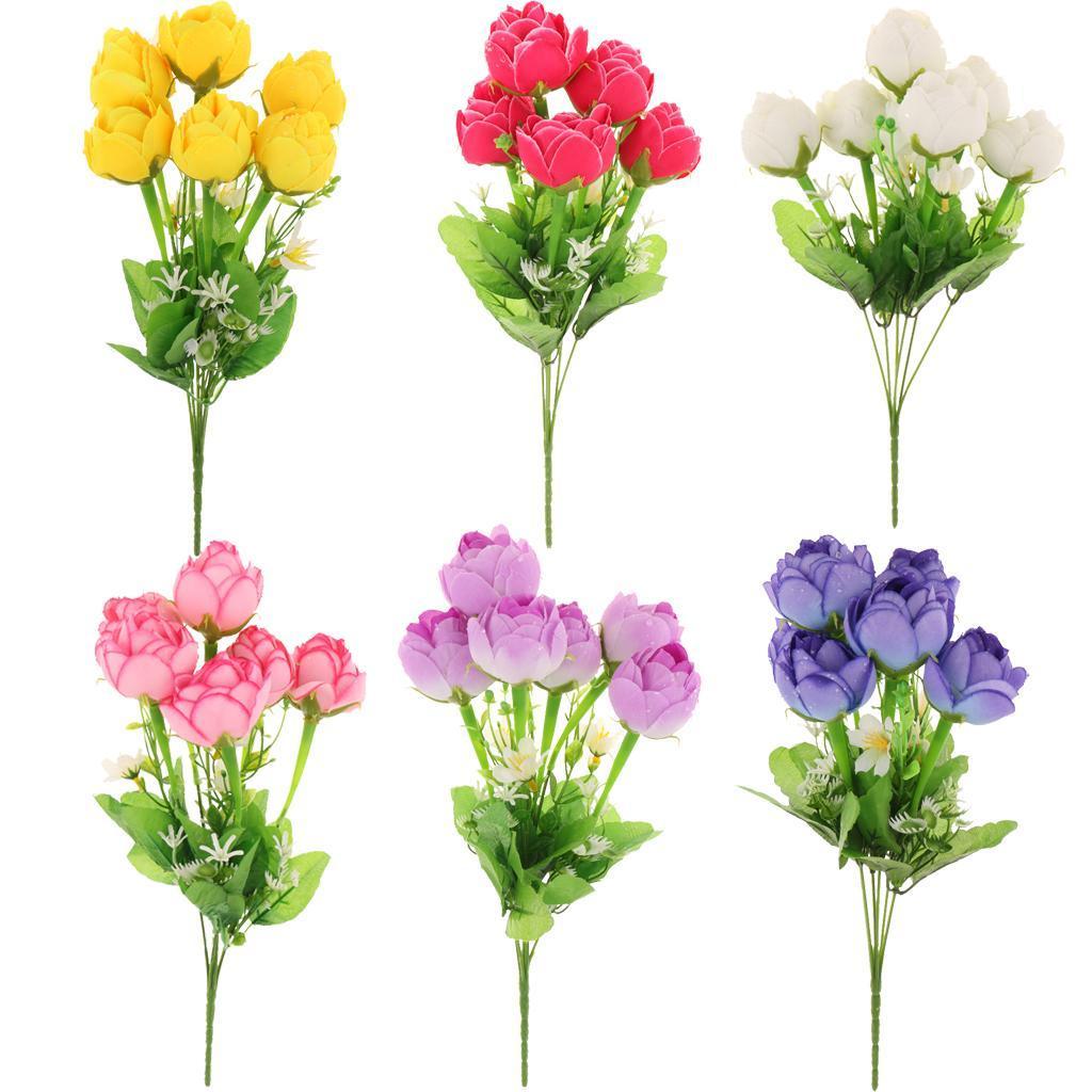 Simulation Flowers 6 Heads Artificial Lotus Bud Fake Flower Home