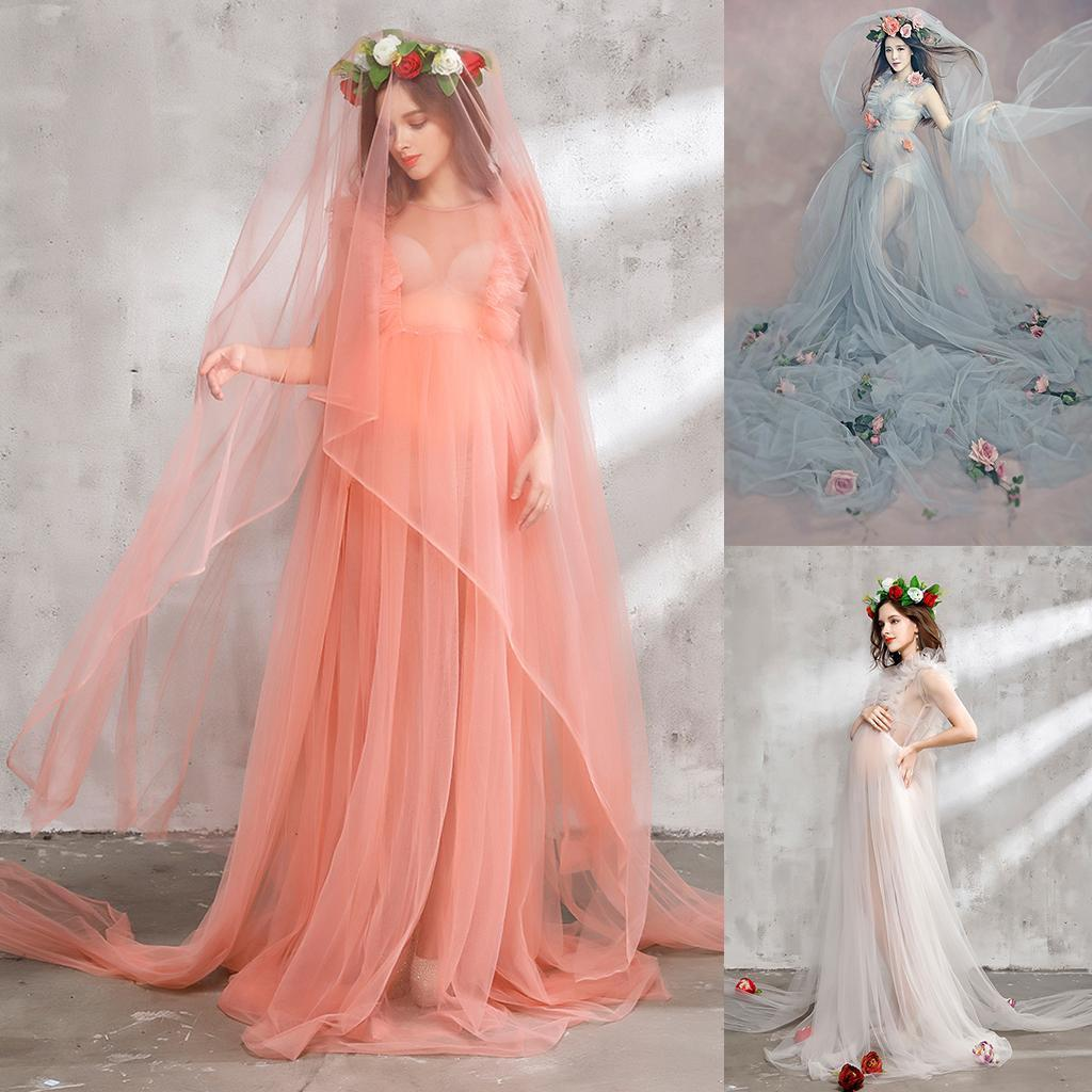 Women Organza Gown Sheer Maternity Dresses Photography Prop Pregnant ...