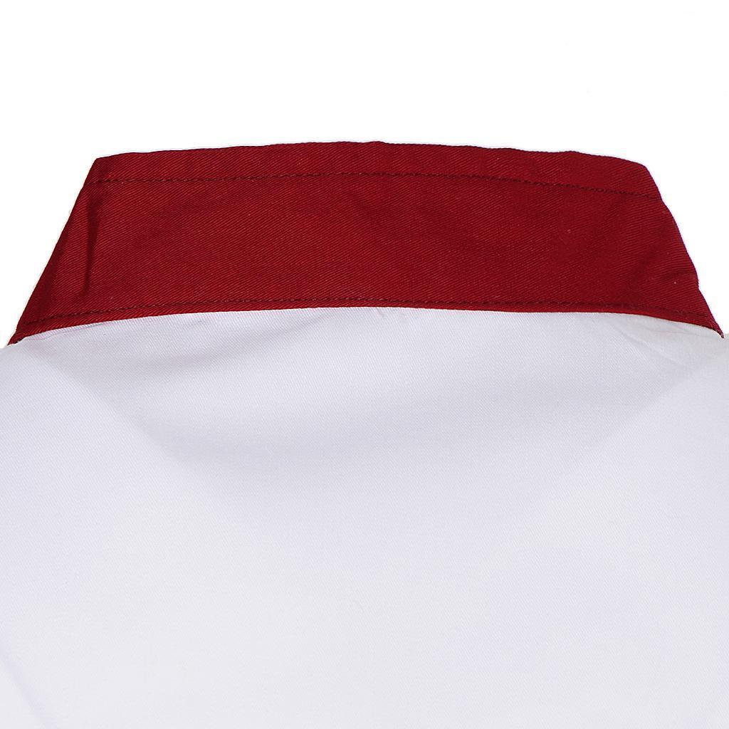 Uomo-Donna-Giacca-da-cuoco-Executive-Top-Bianco-Rosso-Air-Mesh-Maniche-corte miniatura 3