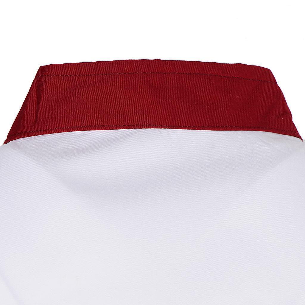Uomo-Donna-Giacca-da-cuoco-Executive-Top-Bianco-Rosso-Air-Mesh-Maniche-corte miniatura 5