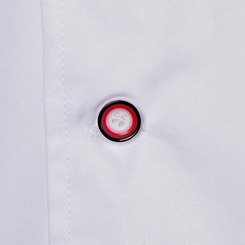 Uomo-Donna-Giacca-da-cuoco-Executive-Top-Bianco-Rosso-Air-Mesh-Maniche-corte miniatura 7