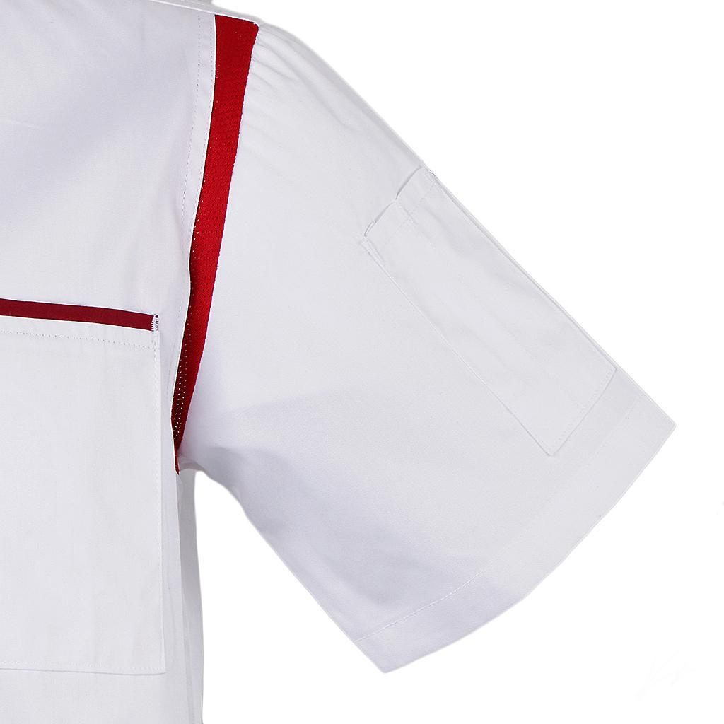 Uomo-Donna-Giacca-da-cuoco-Executive-Top-Bianco-Rosso-Air-Mesh-Maniche-corte miniatura 11