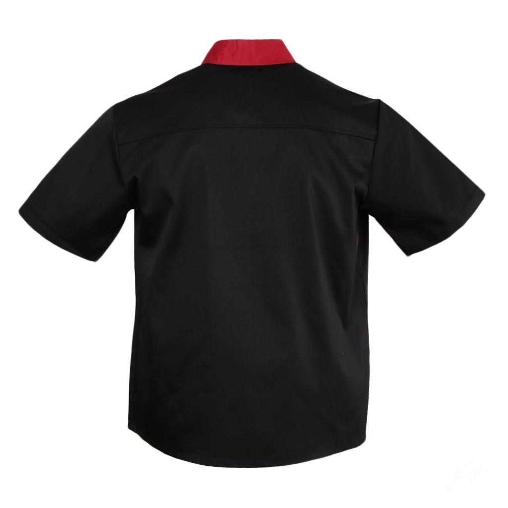 Uomo-Donna-Giacca-da-cuoco-Executive-Top-Bianco-Rosso-Air-Mesh-Maniche-corte miniatura 15