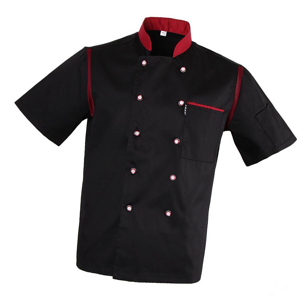 Uomo-Donna-Giacca-da-cuoco-Executive-Top-Bianco-Rosso-Air-Mesh-Maniche-corte miniatura 17