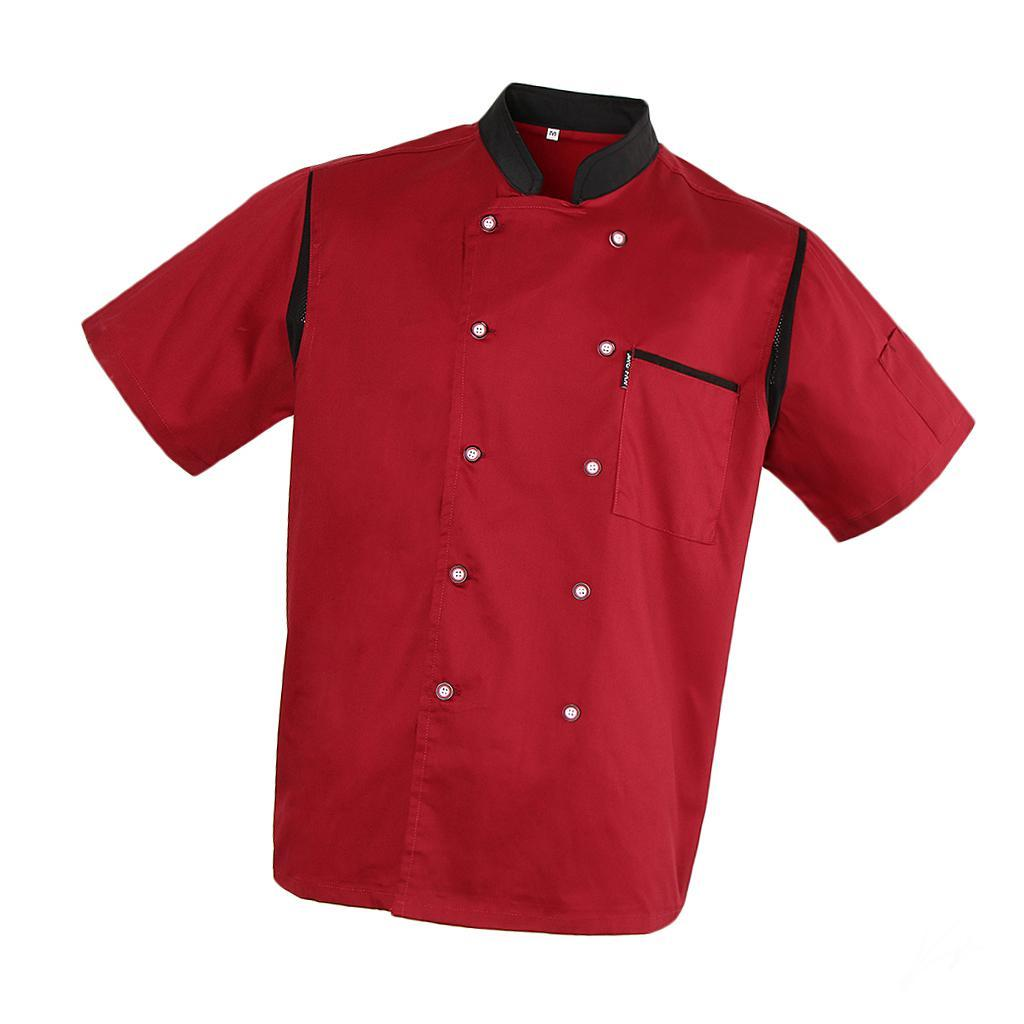 Uomo-Donna-Giacca-da-cuoco-Executive-Top-Bianco-Rosso-Air-Mesh-Maniche-corte miniatura 21