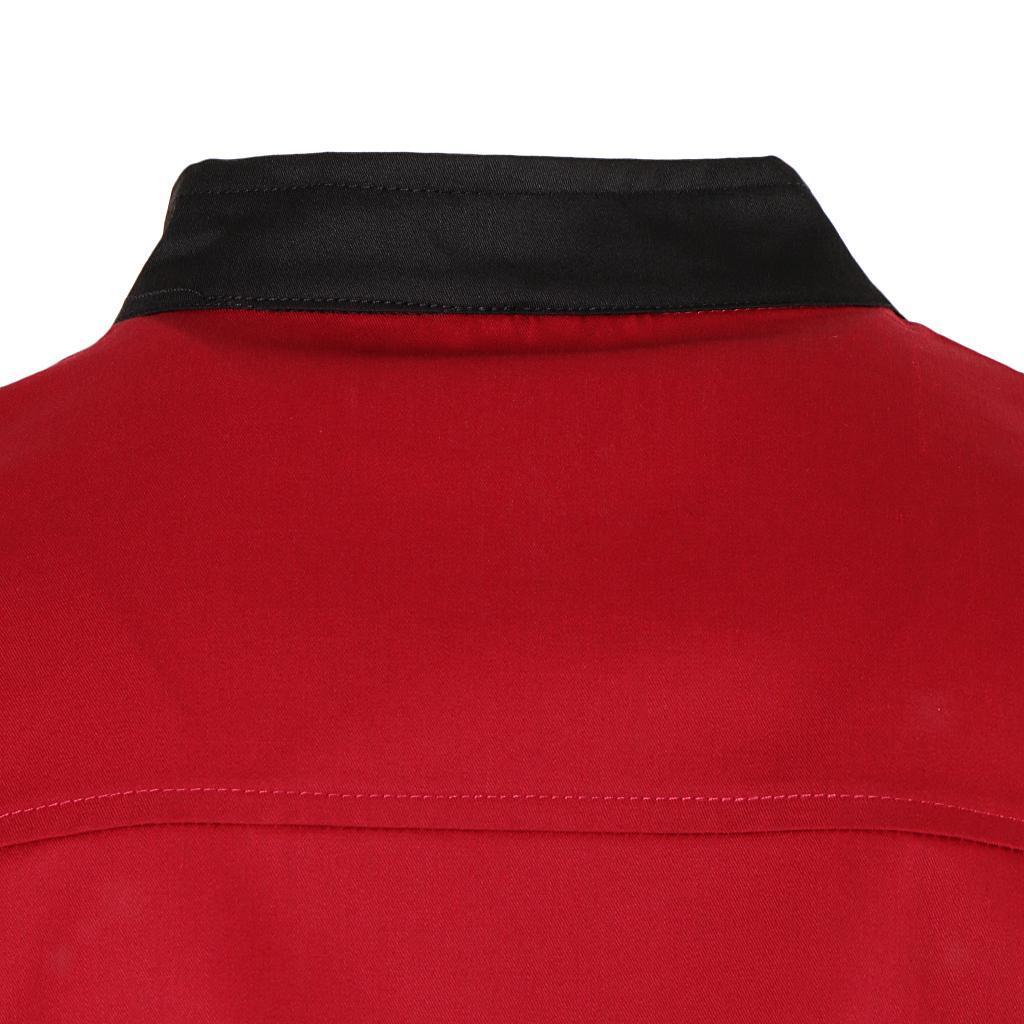 Uomo-Donna-Giacca-da-cuoco-Executive-Top-Bianco-Rosso-Air-Mesh-Maniche-corte miniatura 22