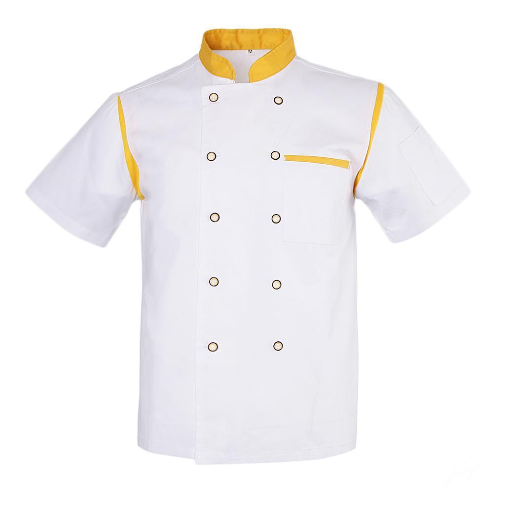 Uomo-Donna-Giacca-da-cuoco-Executive-Top-Bianco-Rosso-Air-Mesh-Maniche-corte miniatura 28