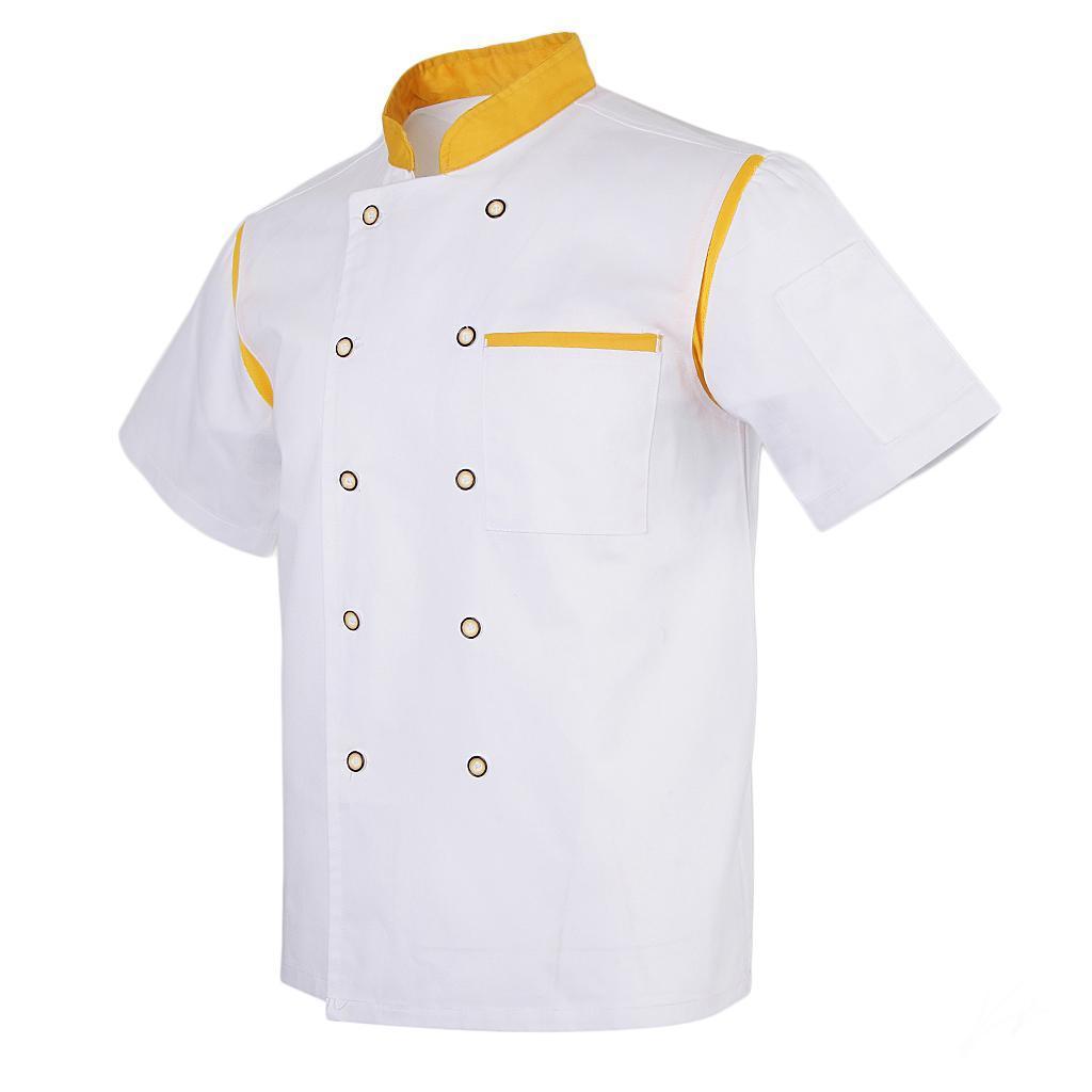 Uomo-Donna-Giacca-da-cuoco-Executive-Top-Bianco-Rosso-Air-Mesh-Maniche-corte miniatura 30