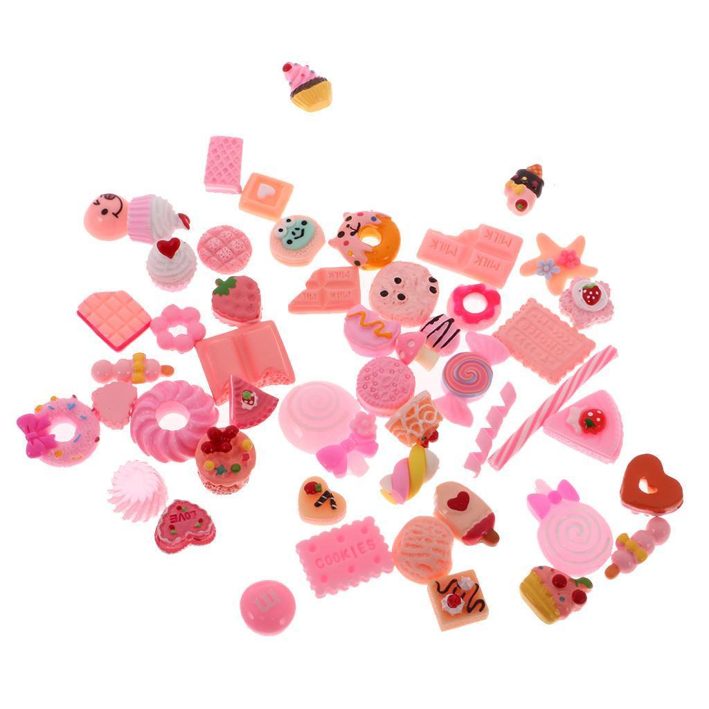 Fiori-di-resina-50x-Cabochons-Flatback-Embellishments-per-gioielli-Craft miniatura 8