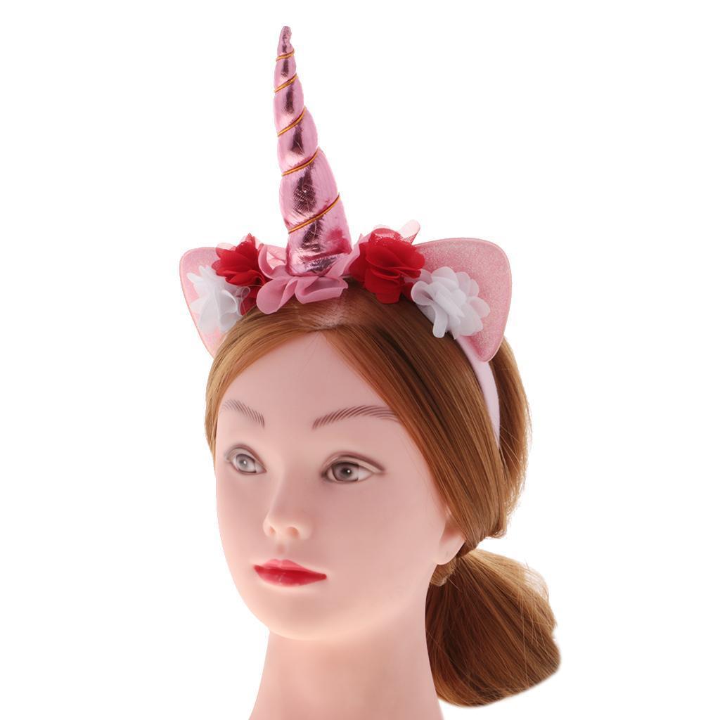 Girls-Pony-Unicorn-Horn-Ear-Flower-Veil-Headband-Fancy-Dress-Cosplay-Hairband thumbnail 27