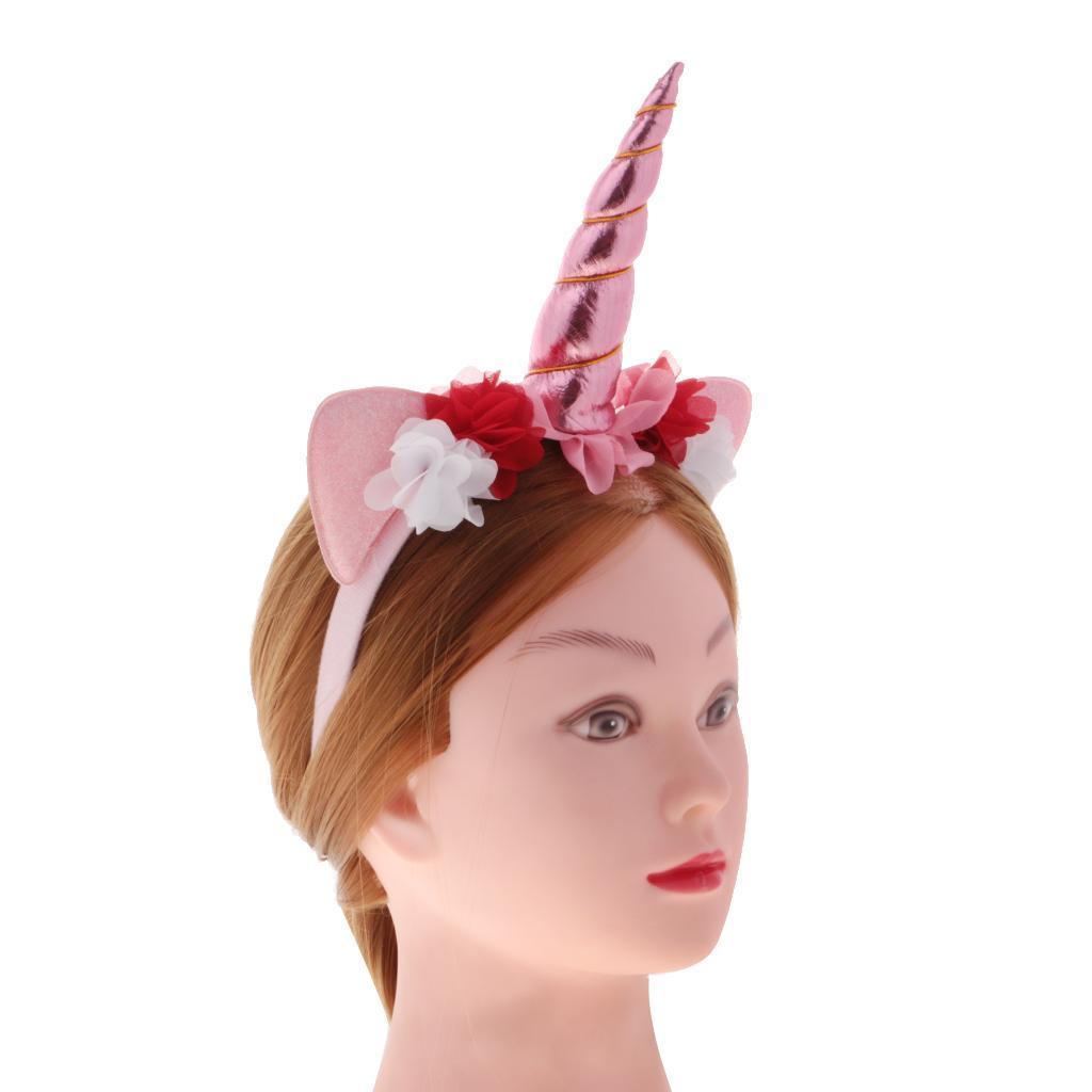 Girls-Pony-Unicorn-Horn-Ear-Flower-Veil-Headband-Fancy-Dress-Cosplay-Hairband thumbnail 29