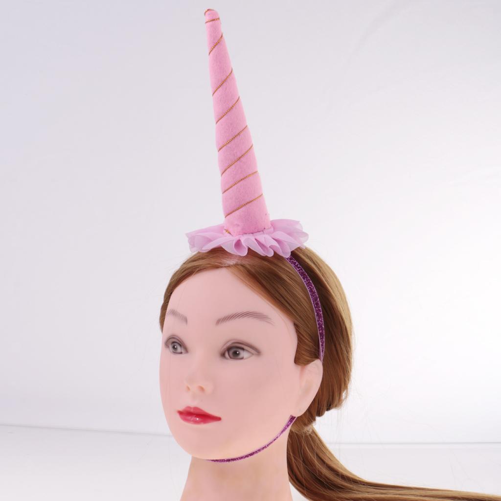 Girls-Pony-Unicorn-Horn-Ear-Flower-Veil-Headband-Fancy-Dress-Cosplay-Hairband thumbnail 35