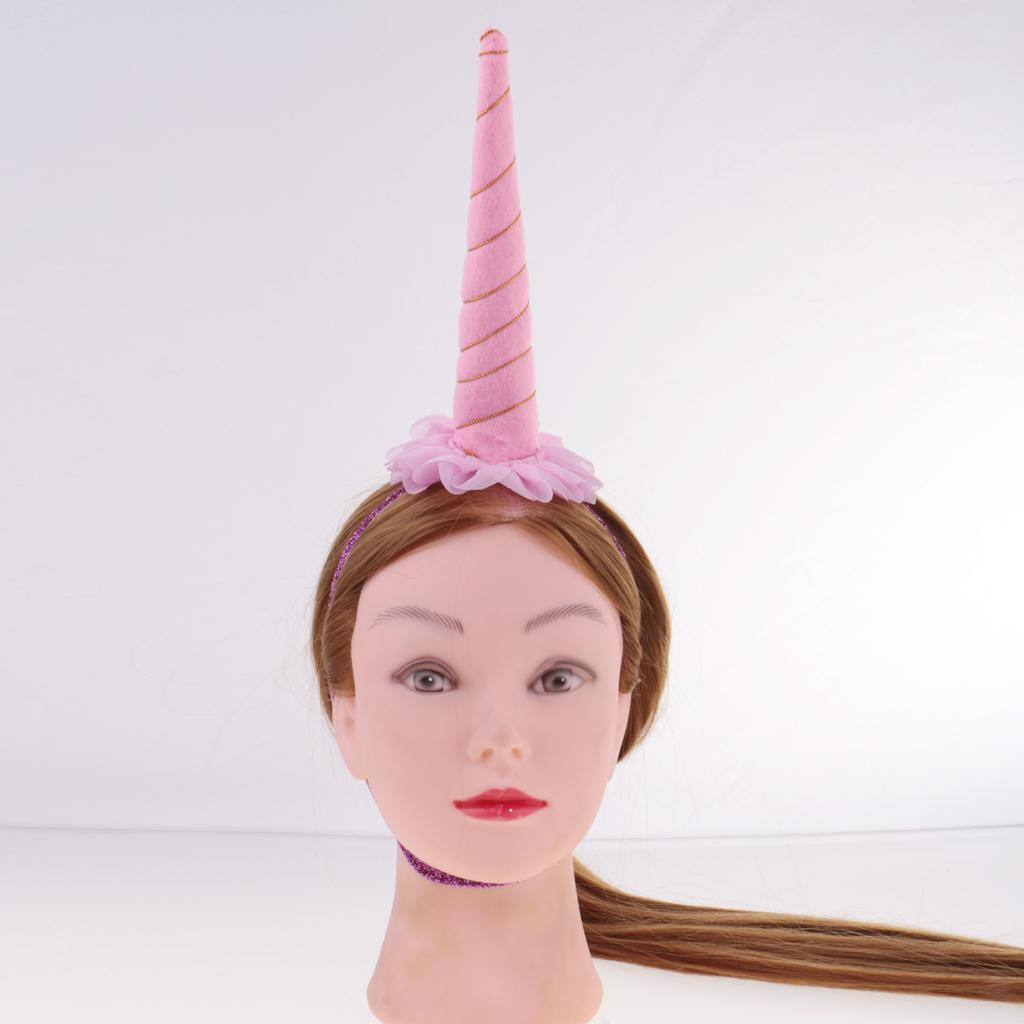 Girls-Pony-Unicorn-Horn-Ear-Flower-Veil-Headband-Fancy-Dress-Cosplay-Hairband thumbnail 31