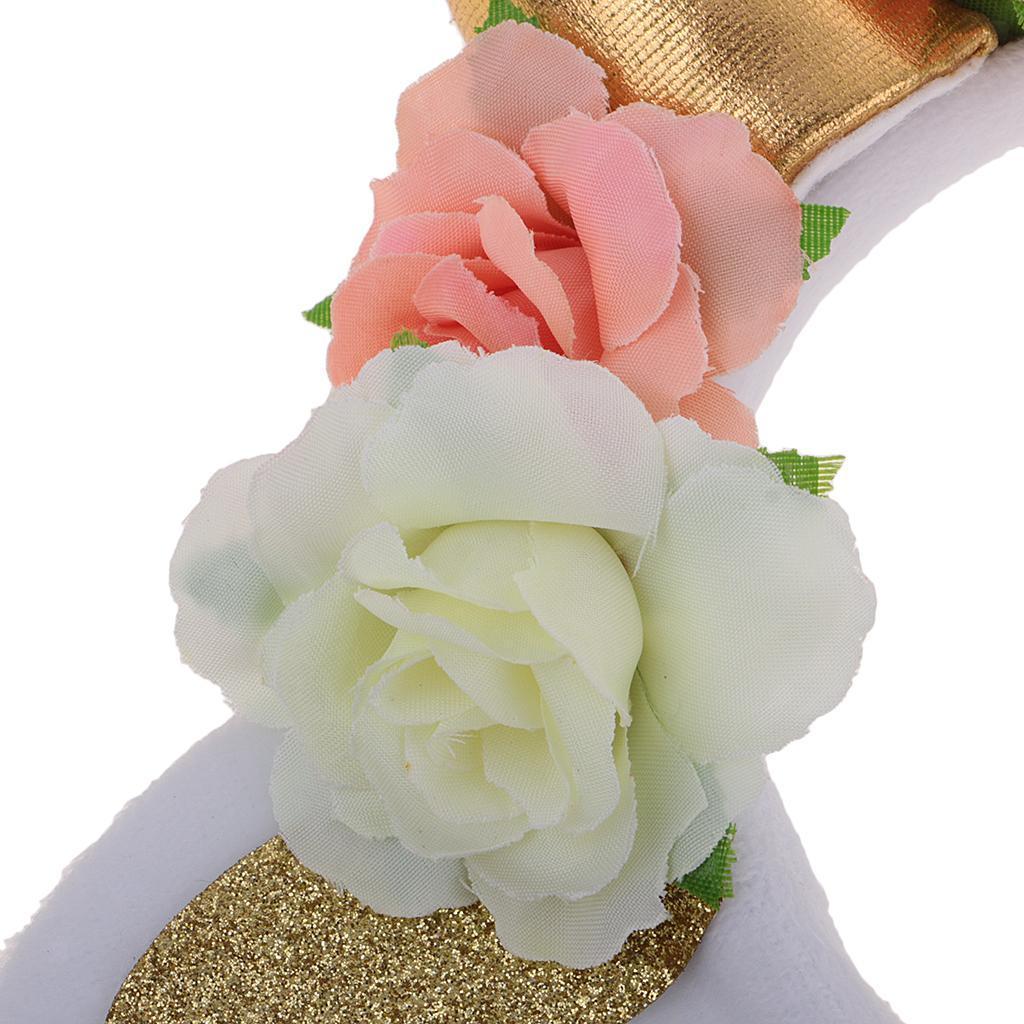 Girls-Pony-Unicorn-Horn-Ear-Flower-Veil-Headband-Fancy-Dress-Cosplay-Hairband thumbnail 23