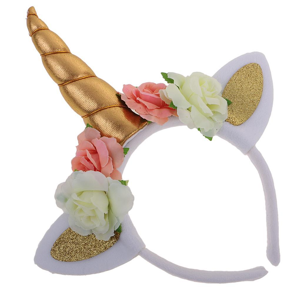 Girls-Pony-Unicorn-Horn-Ear-Flower-Veil-Headband-Fancy-Dress-Cosplay-Hairband thumbnail 22