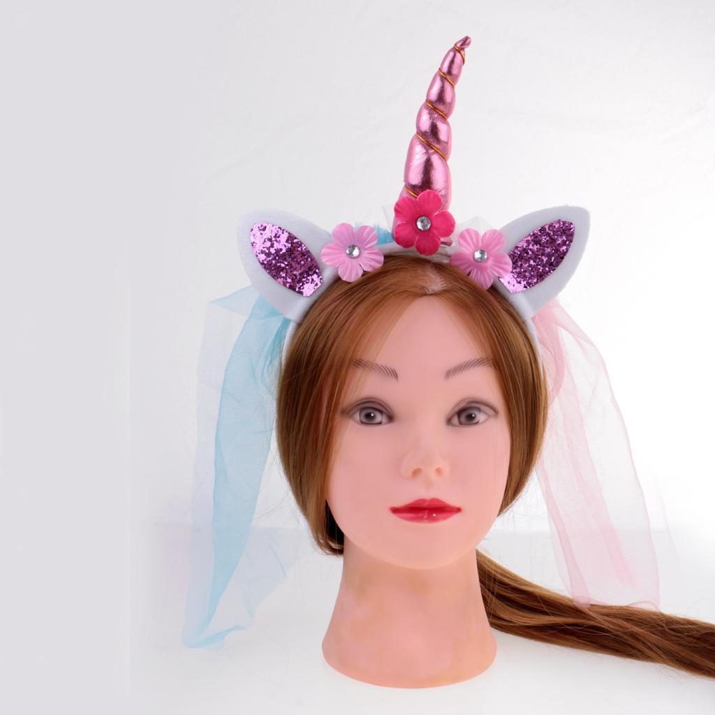 Girls-Pony-Unicorn-Horn-Ear-Flower-Veil-Headband-Fancy-Dress-Cosplay-Hairband thumbnail 14