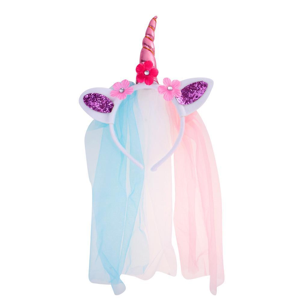 Girls-Pony-Unicorn-Horn-Ear-Flower-Veil-Headband-Fancy-Dress-Cosplay-Hairband thumbnail 16