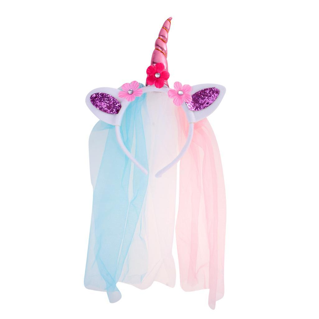 Girls-Pony-Unicorn-Horn-Ear-Flower-Veil-Headband-Fancy-Dress-Cosplay-Hairband thumbnail 18
