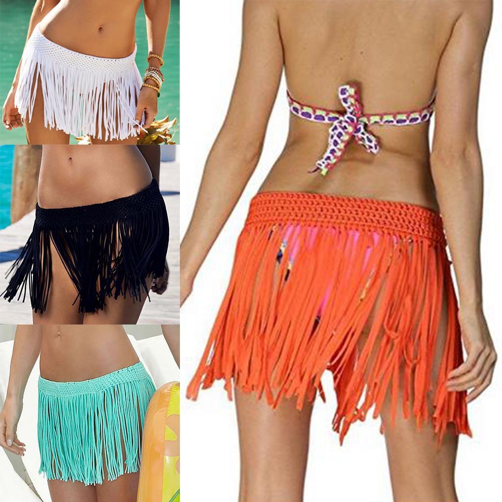 584f6a35f7 Womens Tassel Short Wrap Skirt Swimwear Bikini Cover Up Sarong Pareo ...