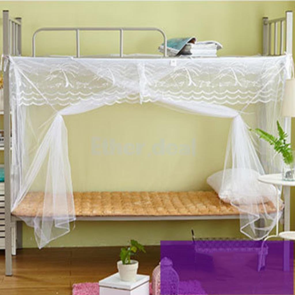 Elegante Studenten Bett Baldachin Moskitonetz Bunk Verschlüsselt 4 Ecke
