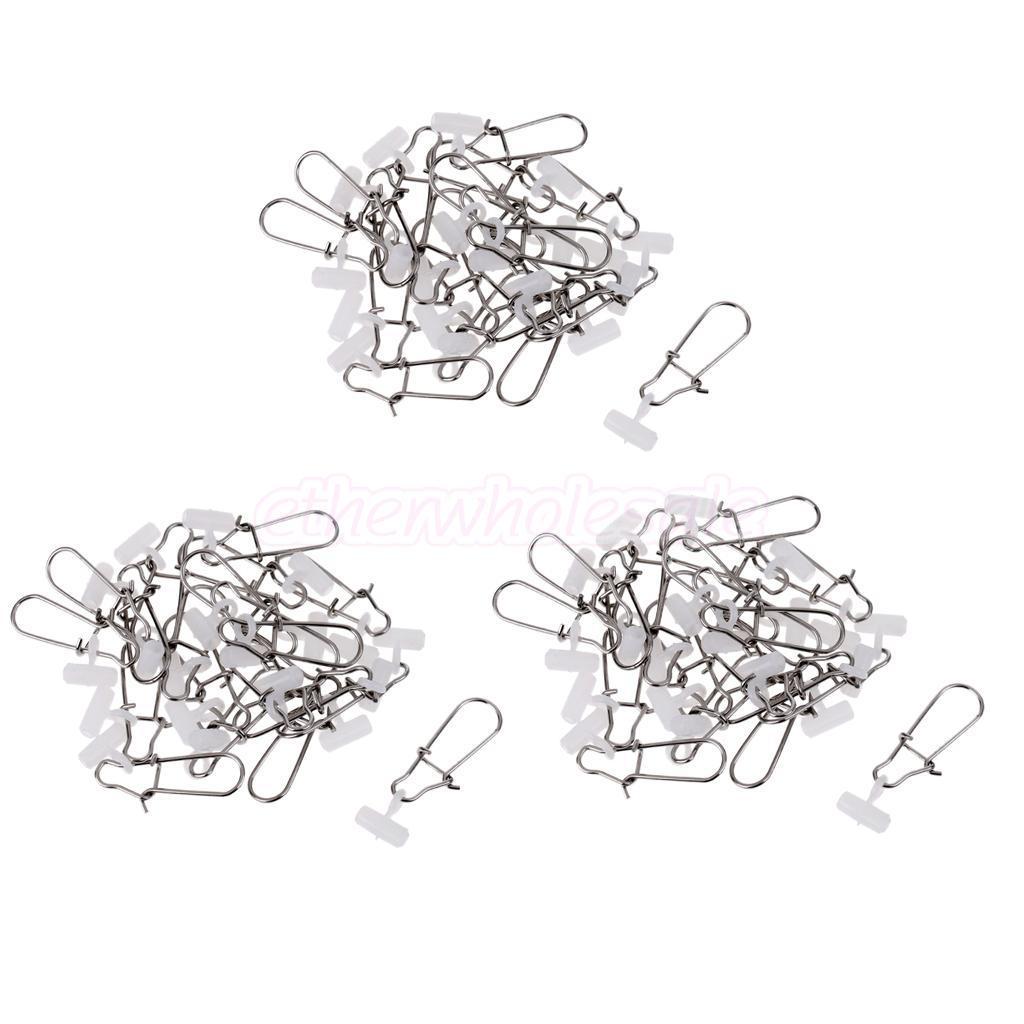 60-pieces-peche-plomb-diapositives-Peche-Snap-hooked-snap-peche-emerillons miniature 9