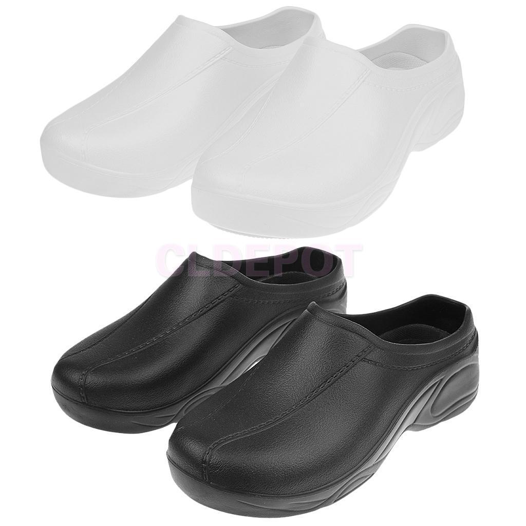 Black Chef Cook Medical Nurse Shoes Orthopedic Clogs Strapless for Men Women