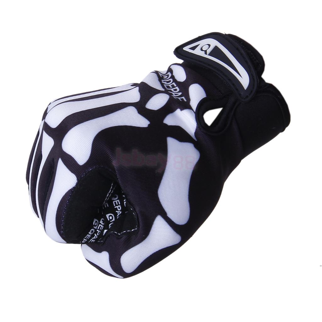 BLK-Bicycle-Bike-Cycle-Sports-Skull-Skeleton-Full-Finger-Warm-Gloves-Size-M-L-XL miniature 8