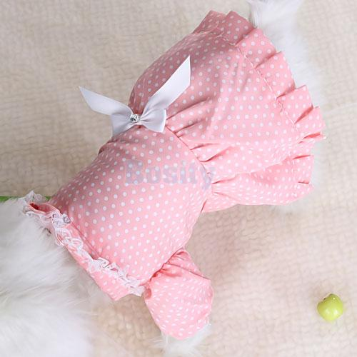 Bowtie Pink Dress Skirt Apparel Clothes Dots Pet Dog XS