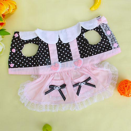 Heart Bowtie Dots Pet Dog Dress Skirt Clothes w Lace