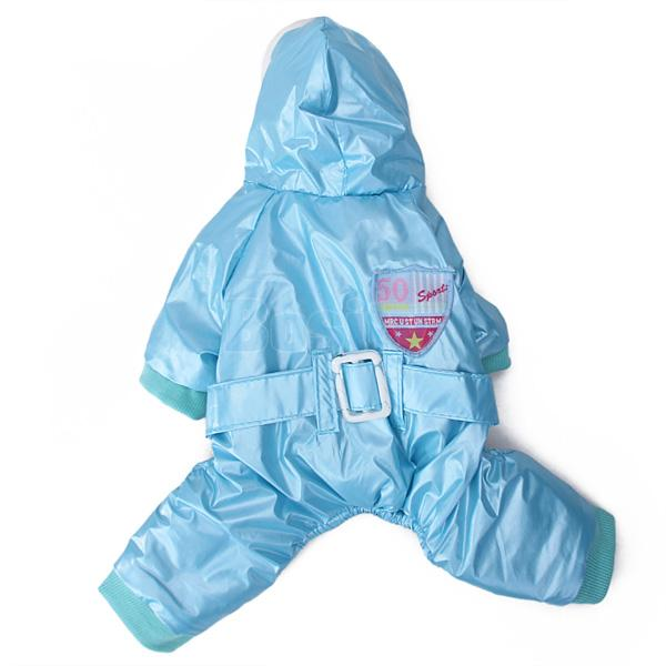 Puppy Pet Dog Shiny Blue Pink Jumpsuit Coat Winter Warm Clothes Parka