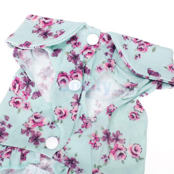 Pet Dog Puppy Floral Rose Bud Print Dress Coat Simple Design Clothes
