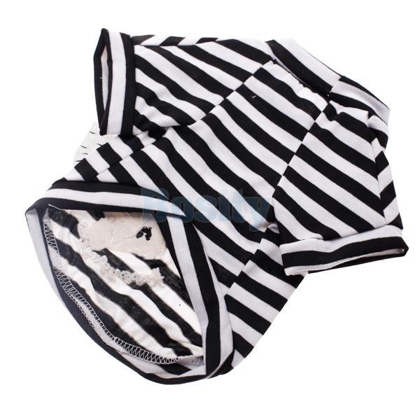 Cool Skull Stripe White Shirt Pet Dog Puppy T Shirt Coat Clothes