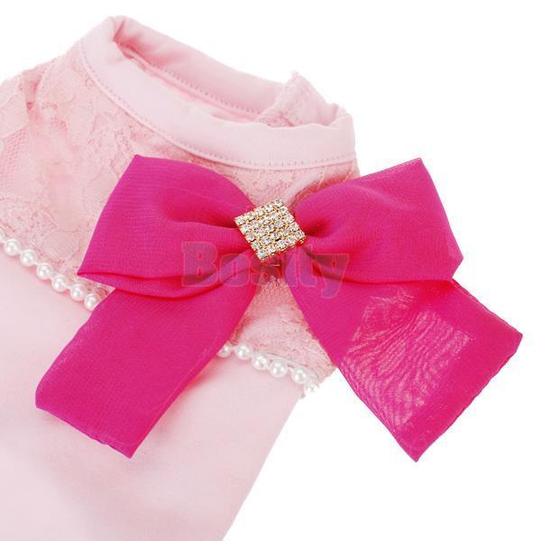 Pink Sleeveless Bowknot Decor Pet Dog Puppy T Shirt Clothes Apparel