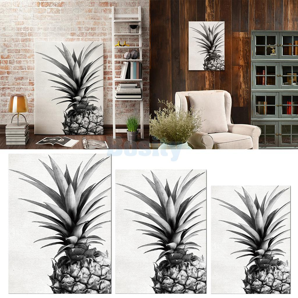 Unframed Black and White Pineapple Canvas Painting Living Room Wall ...