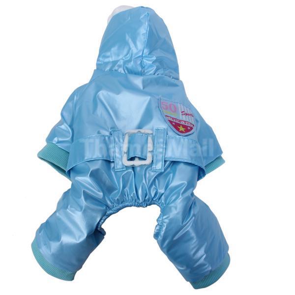 Pet Dog Hoodie Hooded Waterproof Coat Apparel Jumpsuit w/ Waist Belt