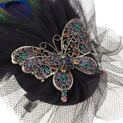 Womens Peacock Feather Rhinestone Butterfly Brooch Pin