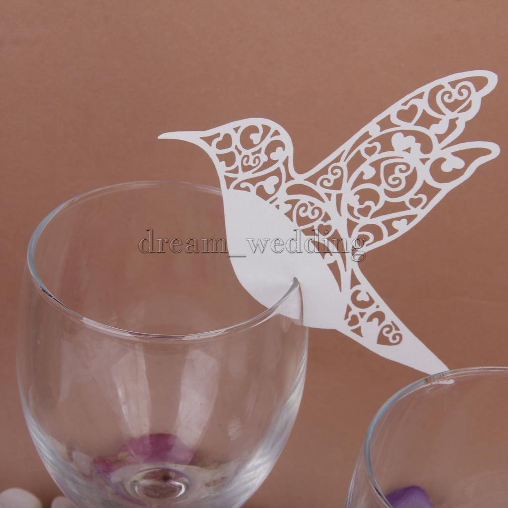 50Pcs Tischkarten Platzkarten Namensschilder Glasrand Hochzeit Party decor